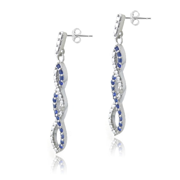 Sterling Silver 4/5ct Created Sapphire & Diamond Accent Triple Infinity Dangle Earrings
