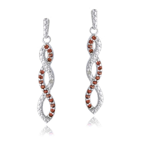 Sterling Silver 4/5ct Garnet & Diamond Accent Triple Infinity Dangle Earrings