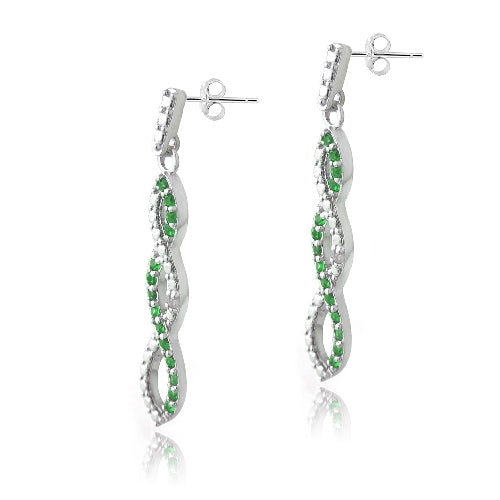 Sterling Silver 4/5ct Created Emerald & Diamond Accent Triple Infinity Dangle Earrings