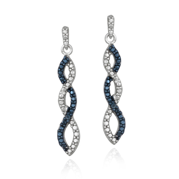 Sterling Silver Blue Diamond Accent Infinity Dangle Earrings