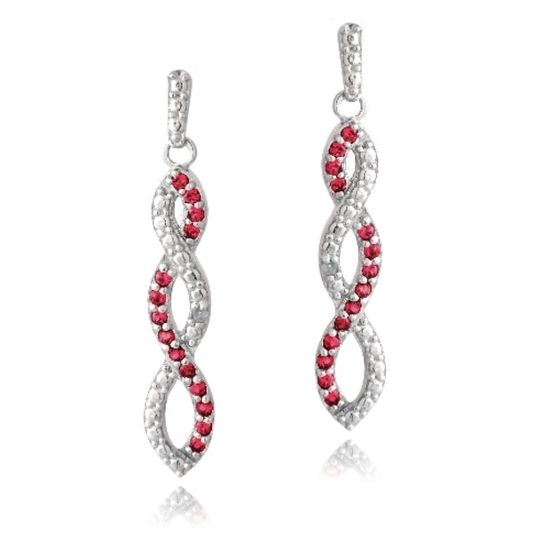 Sterling Silver 4/5ct Created Ruby & Diamond Accent Triple Infinity Dangle Earrings