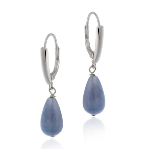 Sterling Silver Created Blue Agate Teardrop Leverback Earrings