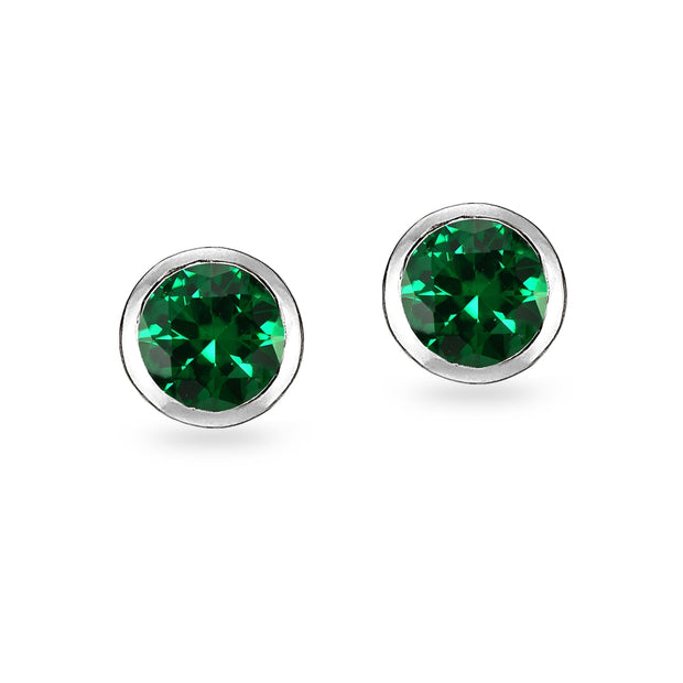 Sterling Silver Created Emerald 5mm Round Solitaire Stud Earrings
