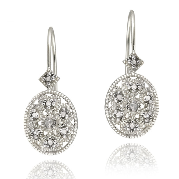Sterling Silver Oval Filigree Diamond Accent Leverback Drop Earrings, JK-I3