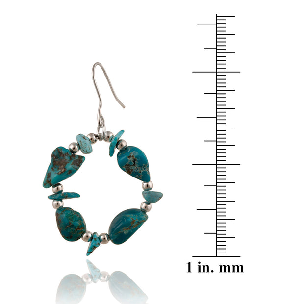 Sterling Silver Created Turquoise Chips Open Circle Dangle Earrings