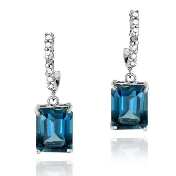 Sterling Silver 5.5ct London Blue Topaz & Diamond Accent Rectangle Dangle Earrings