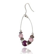 Sterling Silver Gray Pearls, Amethyst Chips & Stones Dangle Wire Earrings