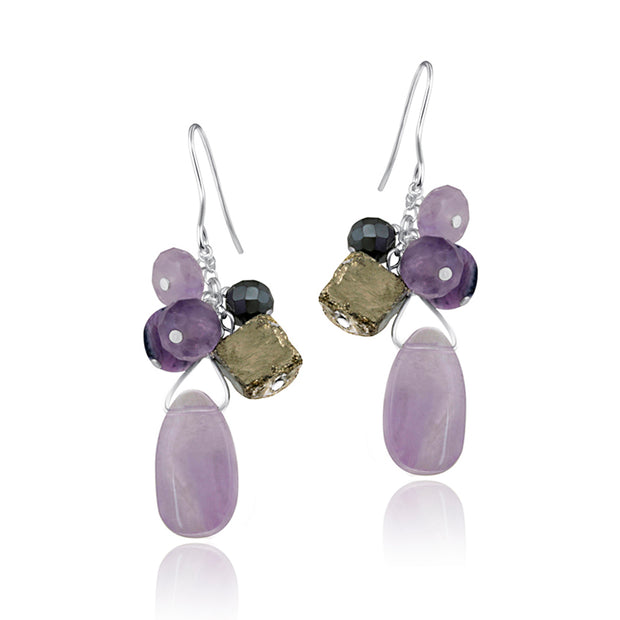 Sterling Silver Pyrite & Amethyst Stones Cluster Earrings
