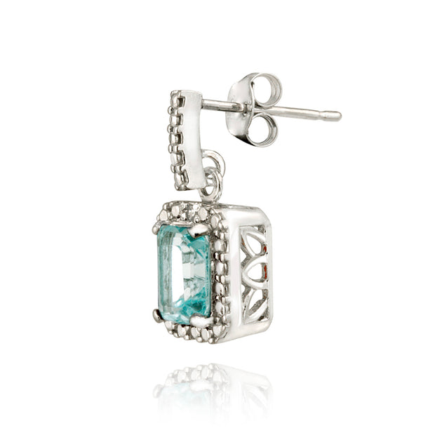 Sterling Silver 2.5ct Blue Topaz & Diamond Accent Dangle Earrings