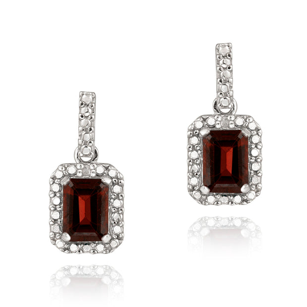Sterling Silver 2.4ct Garnet & Diamond Accent Dangle Earrings