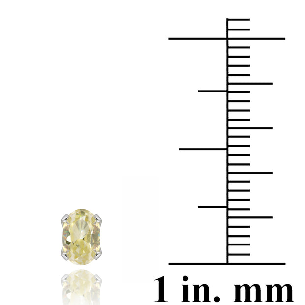 Sterling Silver Yellow CZ 6x4mm Oval Stud Earrings