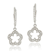 Sterling Silver CZ Open Flower Dangle Leverback Earrings
