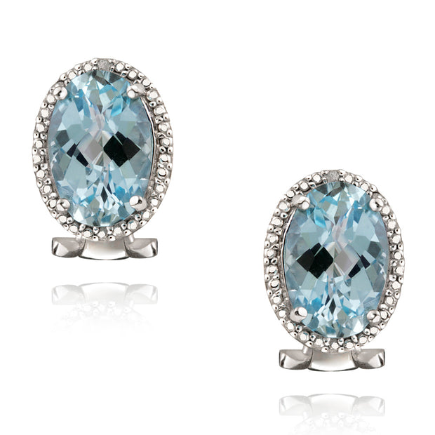 Sterling Silver 8.8ct Blue Topaz & Diamond Accent Oval Earrings