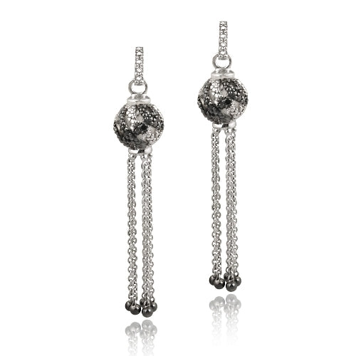 Sterling Silver Black Diamond Accent Dangling Ball Earrings