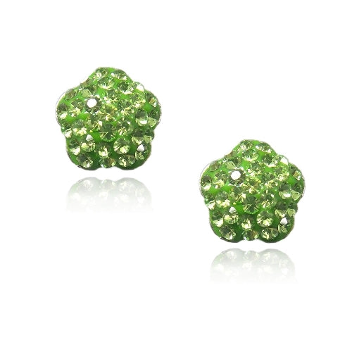 Sterling Silver Peridot Fireball Star Stud Earrings