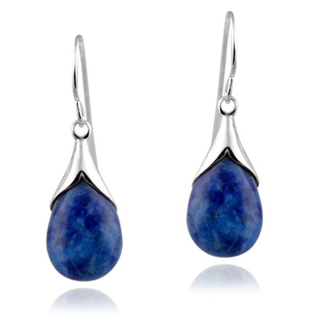 Sterling Silver Sodalite Teardrop Dangle Earrings