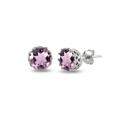 Sterling Silver Simulated Alexandrite Crown Stud Earrings