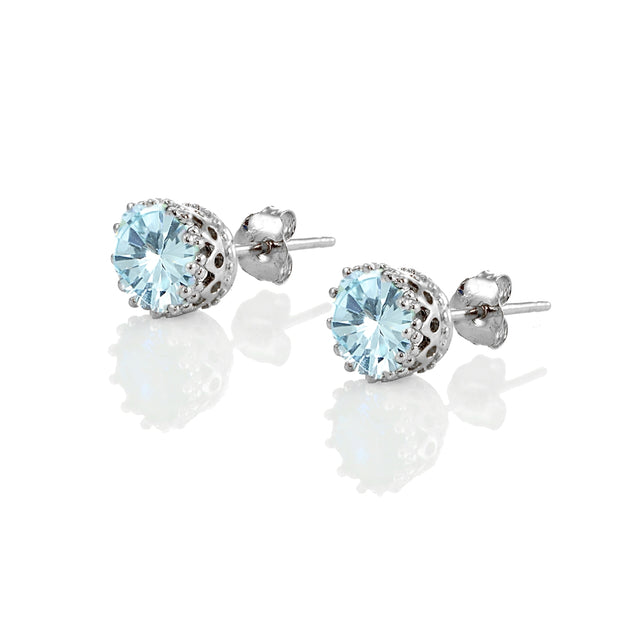 Sterling Silver Blue Topaz Crown Stud Earrings