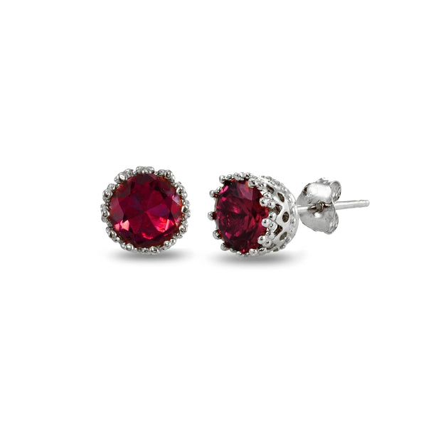 Sterling Silver Created Ruby Crown Stud Earrings