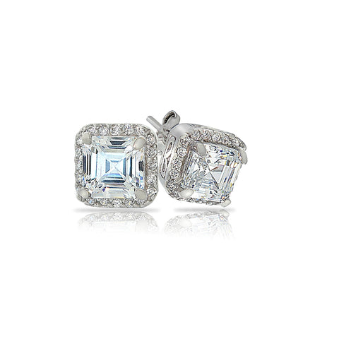 Sterling Silver Asscher-Cut Cubic Zirconia Stud Earrings