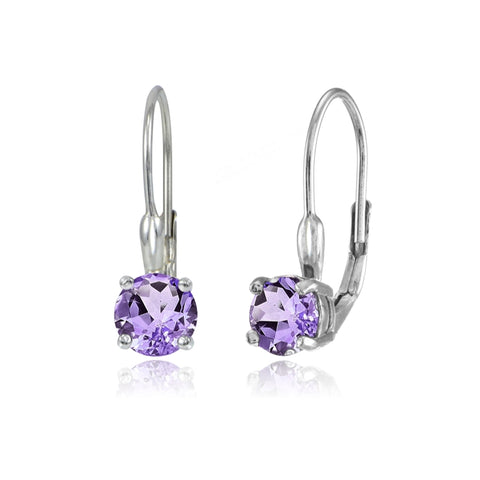 Sterling Silver Amethyst 6mm Round Leverback Earrings