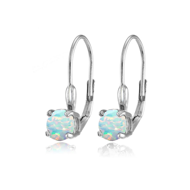 Sterling Silver Created White Opal 6mm Round Leverback Earrings