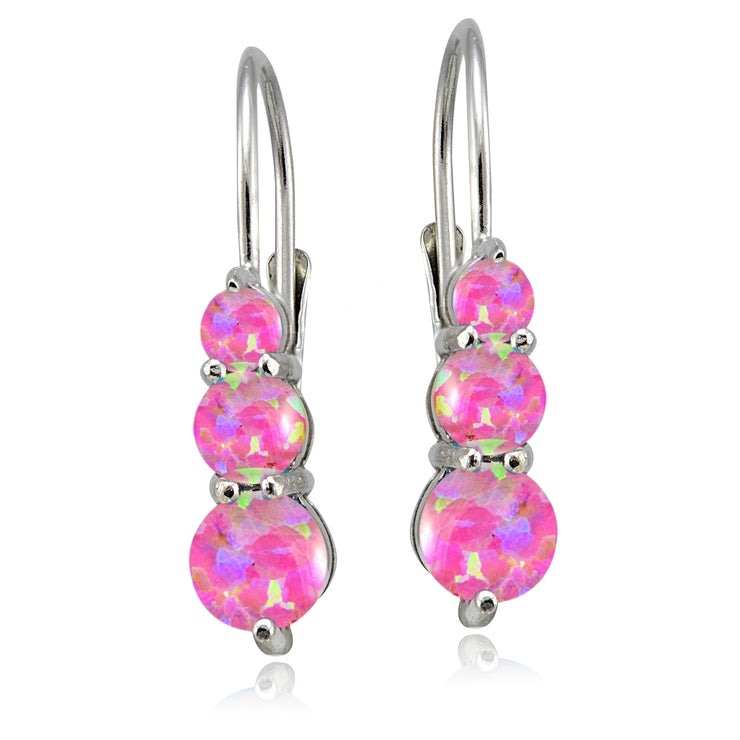 Sterling Silver Created Pink Opal Three Stone Drop Earrings