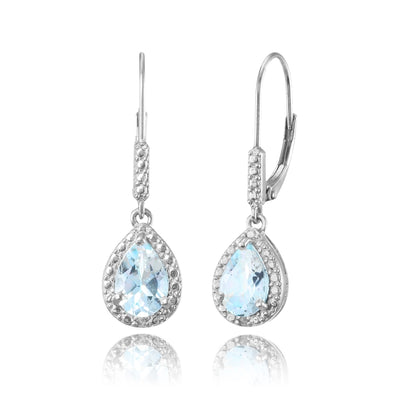Sterling Silver Blue Topaz Teardrop Dangle Leverback Earrings