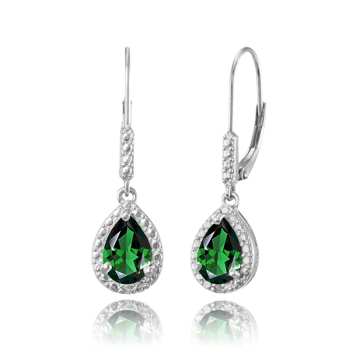 Sterling Silver Simulated Emerald Teardrop Dangle Leverback Earrings