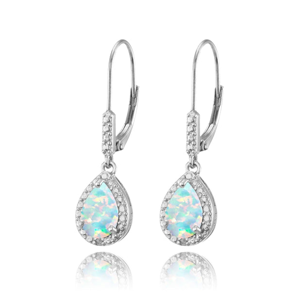 Sterling Silver Simulated White Opal Teardrop Dangle Leverback Earrings