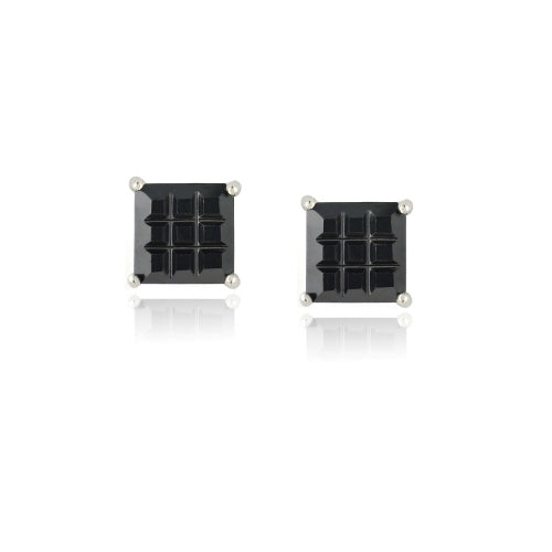 Sterling Silver Black CZ Checkerboard 6mm Stud Earrings