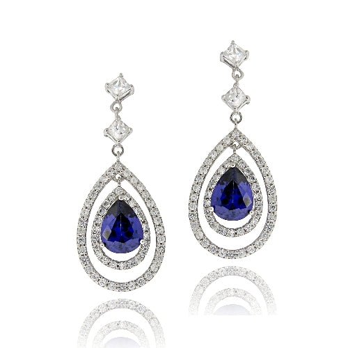Sterling Silver Blue & White CZ Triple Teardrop Dangle Earrings