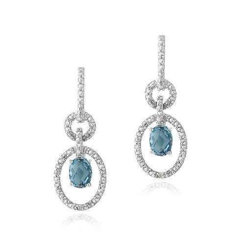Sterling Silver 3ct London Blue Topaz & Diamond Accent Oval & Round Dangle Earrings