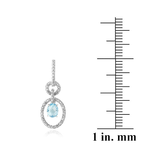 Sterling Silver 3ct Swiss Blue Topaz & Diamond Accent Oval & Round Dangle Earrings