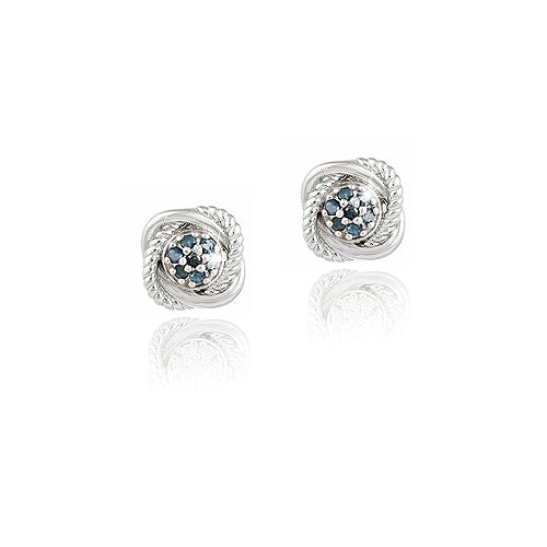 Sterling Silver 1/7ct Blue Diamond Love Knot Stud Earrings