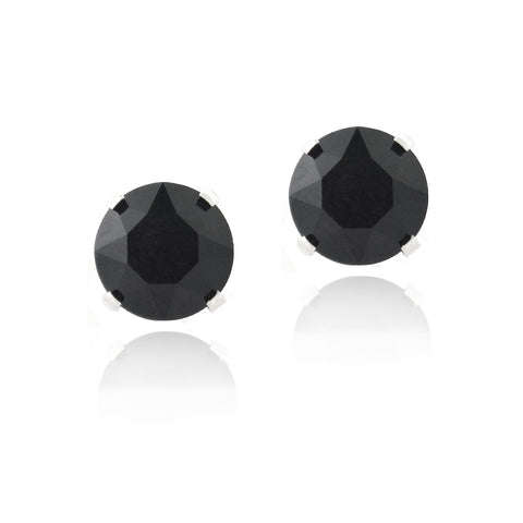 Sterling Silver Black Swarovski Elements Stud Earrings, 6mm