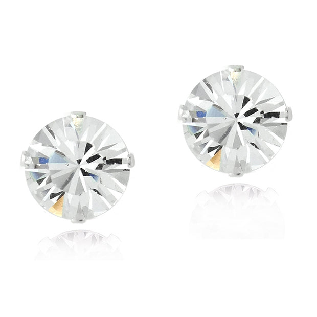 Sterling Silver Clear Swarovski Elements Stud Earrings, 6mm