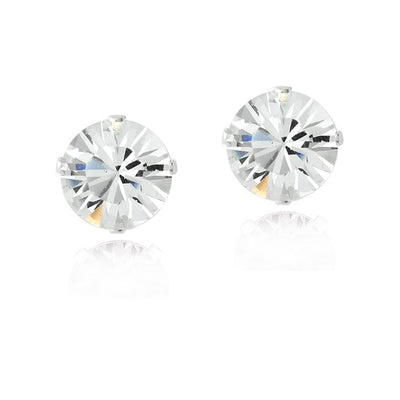 Sterling Silver Clear Swarovski Elements Stud Earrings, 8mm
