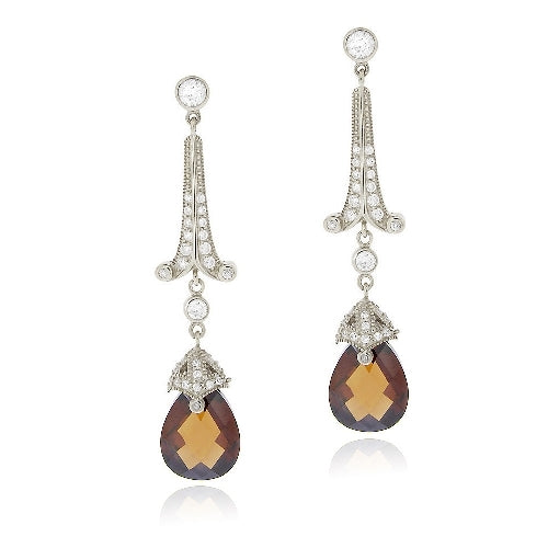 Sterling Silver 18ct Chocolate & Clear CZ Estate Dangle Earrings
