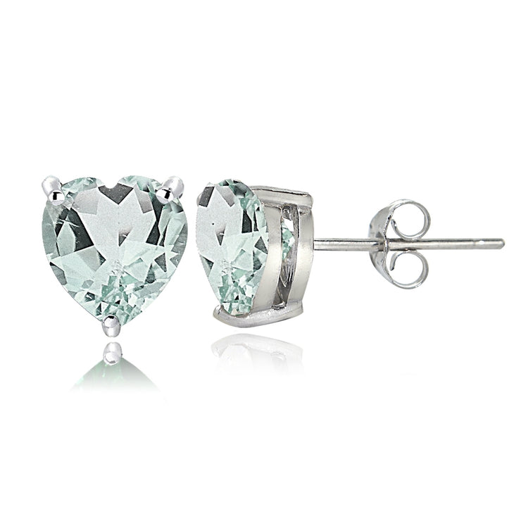Sterling Silver Aquamarine 7mm Heart Stud Earrings