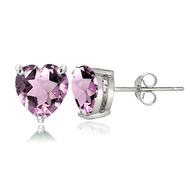 Sterling Silver Simulated Alexandrite 7mm Heart Stud Earrings