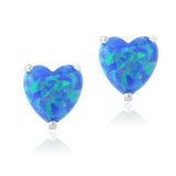 Sterling Silver Created Blue Opal Heart Stud Earrings, 7mm