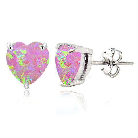 Sterling Silver Created Pink Opal Heart Stud Earrings, 7mm