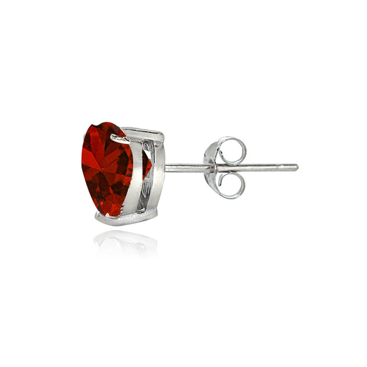 Sterling Silver Created Ruby 7mm Heart Stud Earrings