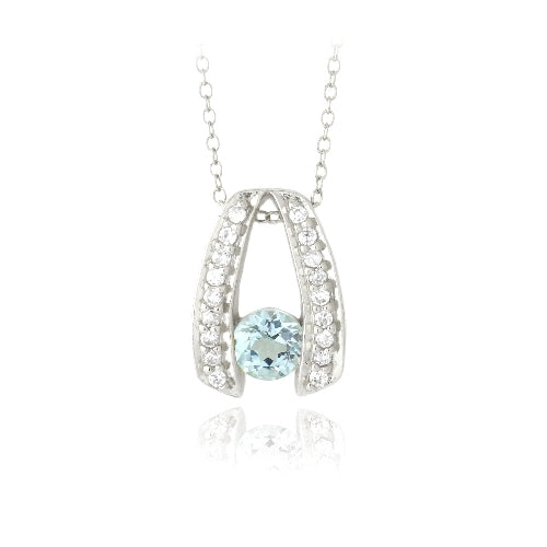Sterling Silver 1ct Blue Topaz & CZ Wishbone Necklace