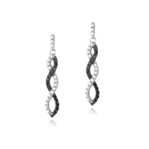 Sterling Silver 1/4 ct Black Diamond Triple Infinity Dangle Earrings