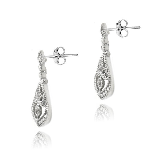 Sterling Silver 1/10 ct Diamond Fleur De Lis Teardrop Dangle Earrings