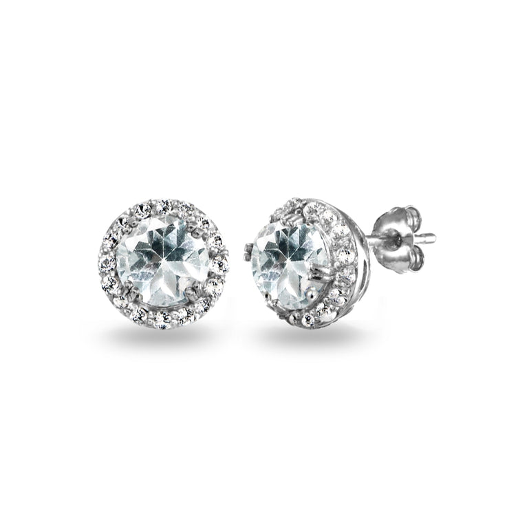 Sterling Silver Aquamarine & White Topaz Round Halo Stud Earrings