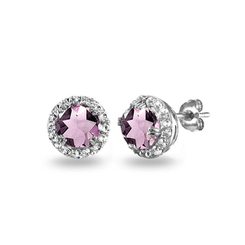 Sterling Silver Simulated Alexandrite & White Topaz Round Halo Stud Earrings