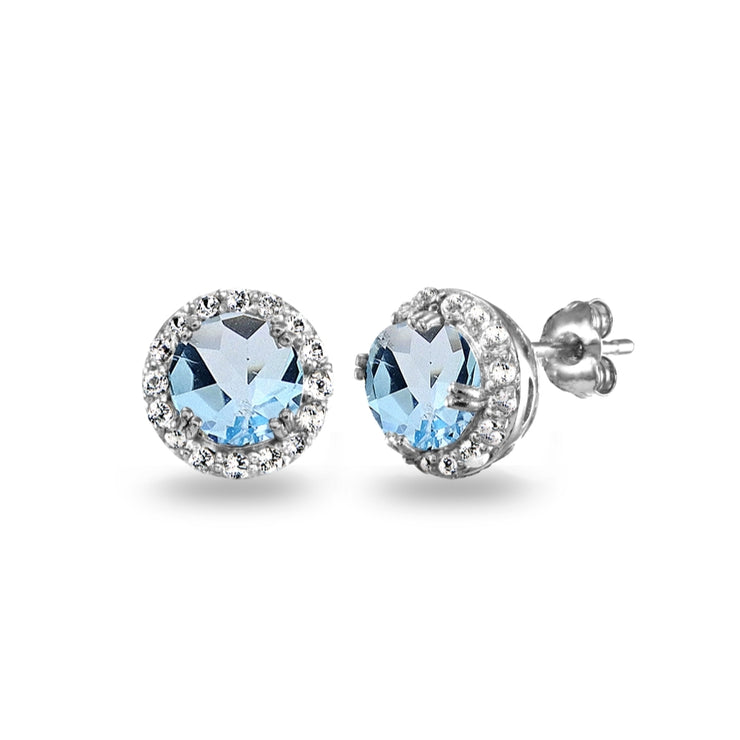 Sterling Silver Blue Topaz & White Topaz Round Halo Stud Earrings